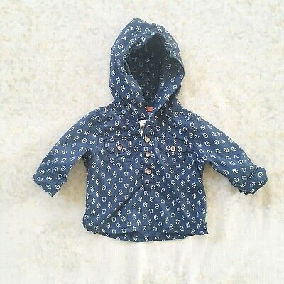 Carter's Boys Hoodie Shirt Size 3 Mos Cotton Hooded Pockets Print Blue White