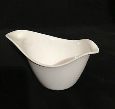 Hutzler White Melamine Modernist Curvy Bowl Saucy Server Prep #503