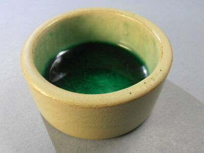 RARE Green POTTERY with CRACKLE GLASS BOTTOM Open Salt Cellar Dip HJ4570