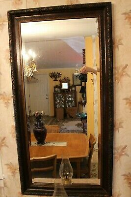 Antique Arts & Crafts Movement Three Color Carved Wood Beveled Edge Wall Mirror