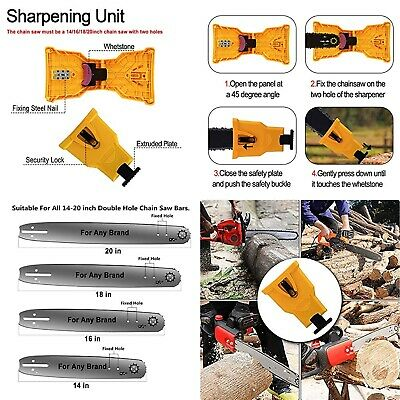 "Portable Chainsaw Teeth Sharpener Bar Mount Sharpening Stone Kit 14-20"" Guides"