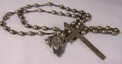 Antique WWI Solid Bead Sterling Silver Rosary Beads Catholic, 37grams 17.5""