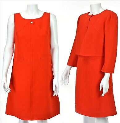 ANDRES COURREGES 1960s Vintage Red 2-PC Dress with Cropped Jacket SZ FR42 US10