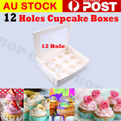 12 Hole Cupcake Boxes 5/10/20/50/100 Window Face With Inserts Cake Party Wedding