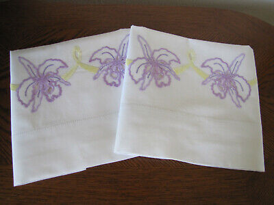 Vintage Pair of Pillowcases Embroidered Open Work Lavender Orchids Stunning