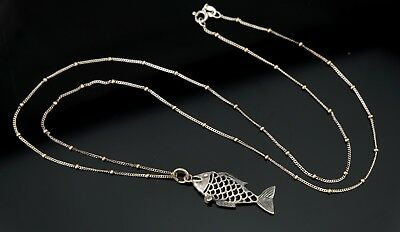 Vtg Sterling Silver Funky Fish Necklace