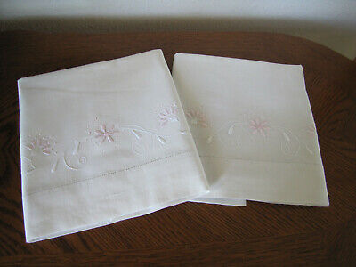 Vintage Pair Of Pillowcases Embroidered Scrolling Pink Asters & White Leaves Wow