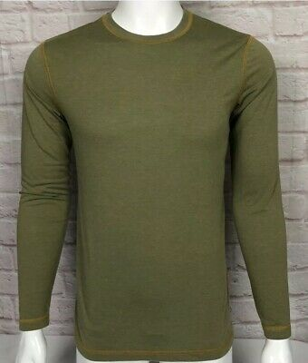 Orvis Mens Trout Bum Shirt S Crew Neck Long Sleeve Fitted Olive Green Fishing