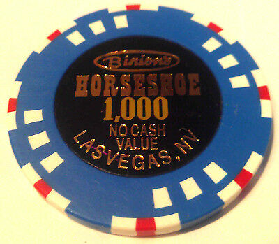 Binions Horseshoe Casino Obsolete $1000 WSOP Blue White Red NCV Poker Chip