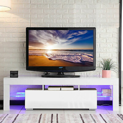 """63"""" TV Stand High Gloss White Cabinet Console Furniture w/LED Shelves 2 Drawers"""