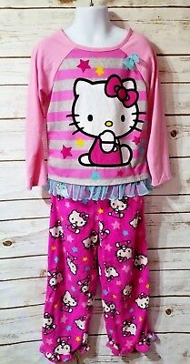 Hello Kitty Girls 5 two piece pajama sleep set Pjs pink