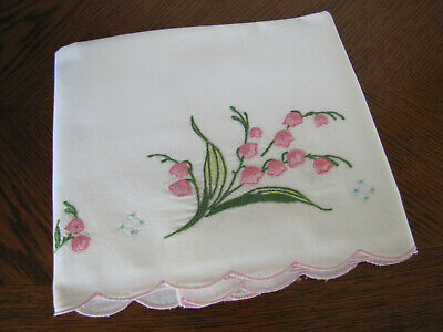 Vintage Single White Pillowcase Embroidered Spray Of Pink Bell Flowers Wow