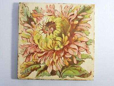 Antique Original England Tile Washstand Fireplace Wash Stand Art Deco Flower