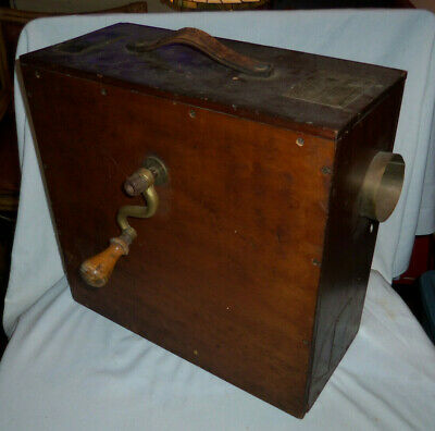 Antique Rotary WOOD Boxed FOGHORN ( Norwegian Pattern ) WORKS! SPANISH LABELS