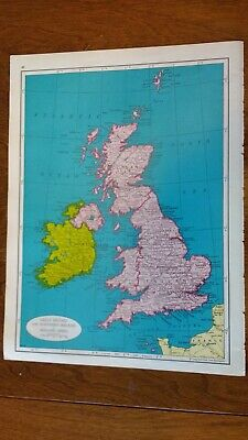 1961 Map of Great Britain and Northern Ireland & Ireland With Shetland Islands