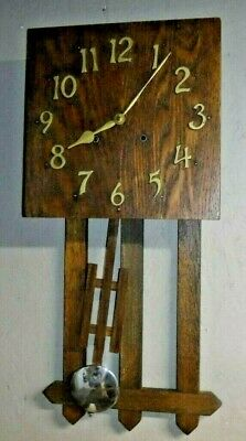 Antique Sessions Forestville Connecticut Mission Oak Wall Chime Clock Working