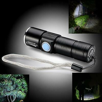 Mini Cree Q5 2000LM LED Light Tactical USB Rechargeable Flashlight Torch Lamp