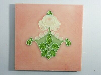 Antique England Tile Washstand Fireplace Wash Stand Art Nouveau Pink White Roses