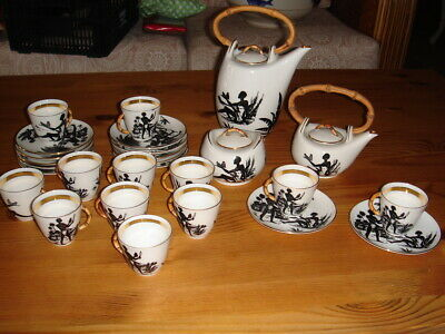 Antique C.P. Limoges  Caribbean Coffee Set 12 x with tea, coffee and sugar pot