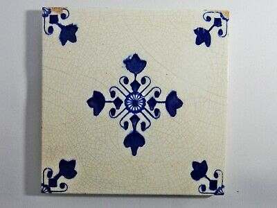Antique Original Delft Tile Washstand Fireplace Wash Stand Blue White Victorian
