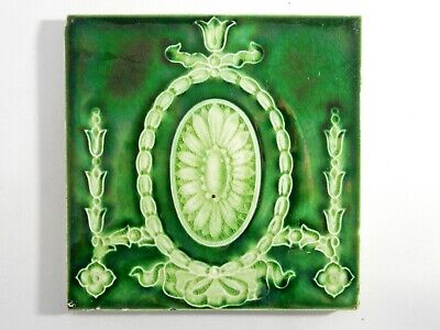 Antique England Tile Washstand Fireplace Wash Stand Edwardian Majolica Green
