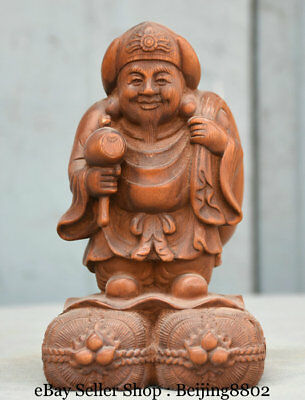 """7"""" Rare Old Chinese Boxwood Wood Carved Japan Mammon Wealth God Buddha Statue"""
