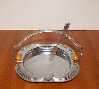 Art Deco Chrome and Butterscotch Bakelie Snack Tray w/Matching Cheese Knife
