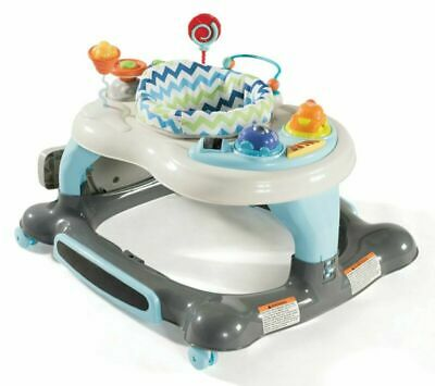 Storkcraft 3-in-1 Activity Walker and Rocker with Jumping Board, Blue/Gray