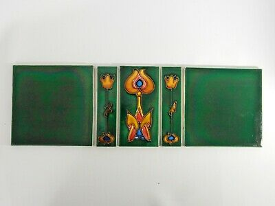 Antique Set of 5 England Tiles Washstand Wash Stand Green Art Nouveau Tube Lined