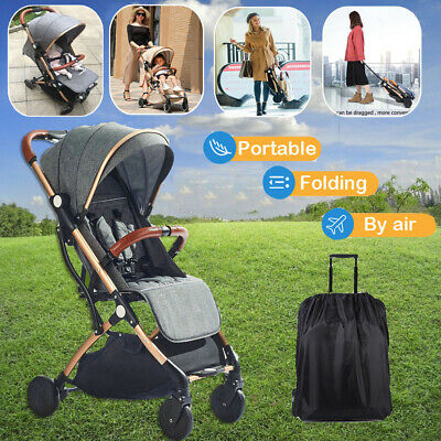 Compact Baby Stroller Portable Lightweight Travel Pram Easy Fold Carry On Plane