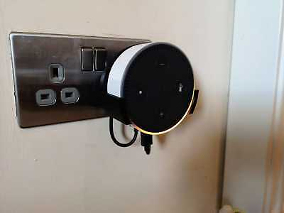 Power Socket Mount for Amazon Echo Dot 2nd Gen (For Old Style Solid Black Plug)