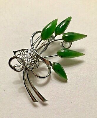 Vintage Chinese Export Jade Navettes Silver Tone Etched Bouquet Flower Brooch