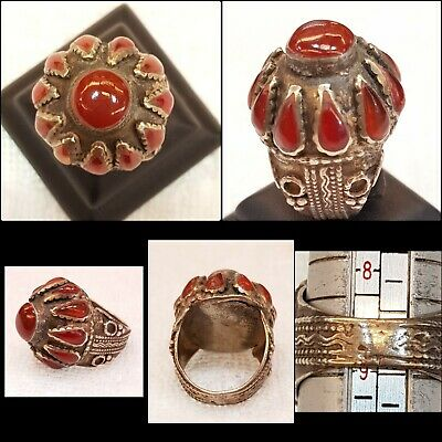 Massive Old Silver Afghanistan Antique Silver Ring With Wonderful Ancient Agate