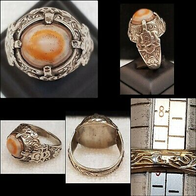 Very Rare & Unique Ancient Old Agate Stone Evil Eyes Protection Old Silver Ring