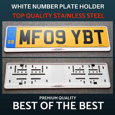 1 x Luxury White Stainless Steel Number Plate Holder Surround for Mini Cooper !