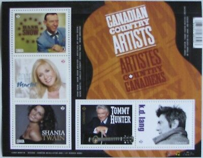 #2765 CANADA: Canadian Country Artists;  MNH Souvenir Sheet of 5 Stamps