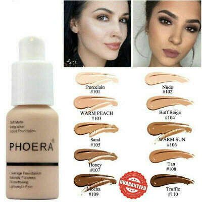 Phoera Matte Oil Control Concealer Foundation Make-up Cream Covers Acne Marks