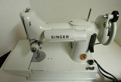 Singer 221K White FEATHERWEIGHT Sewing Machine + Case - Working