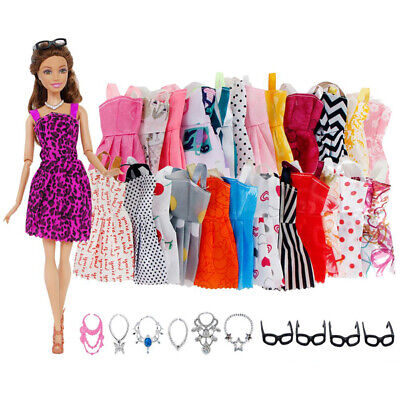 Modern Mini Mannequin 10x Dress + 4x Glasses+ 6x Necklace  for Barbie Doll X7s