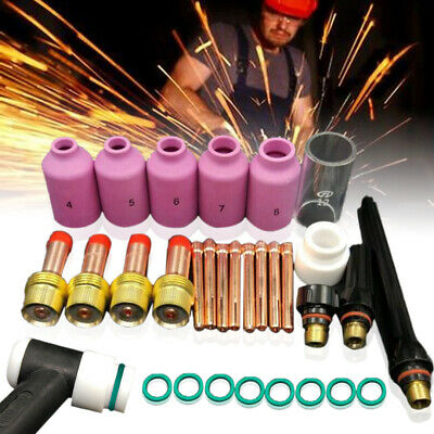 30pcs Tig Welding Accessories Torch Stubby Gas Len Glass Cup For WP-17/18/26 set