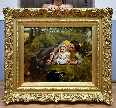 Fine Large Mid 19thC Pre Raphaelite Oil Painting Mother & Child Original Antique