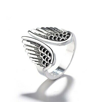 Fashion Jewelry Retro Silver Color Ring Angel Wings Ring for Women&Men Gift