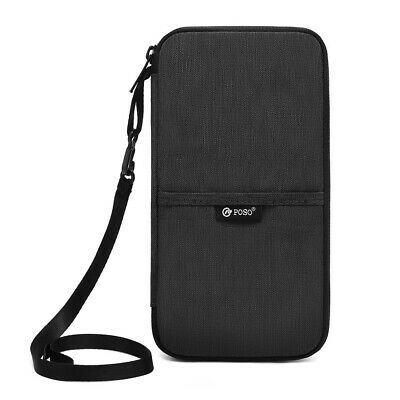 Travel Wallet RFID Blocking Portable Passport Holder Mens Document Organizer Bag
