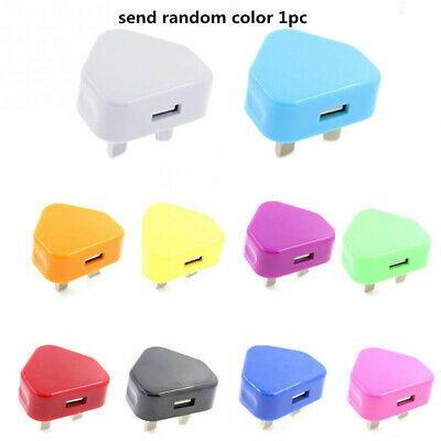 USB Power Adapter 3 Pin UK Plug Converter Charger Adapter for Mobile Colorful