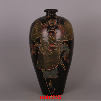 "14"" China antique Black glaze carving character Zhongkui pattern Mei bottle vase"