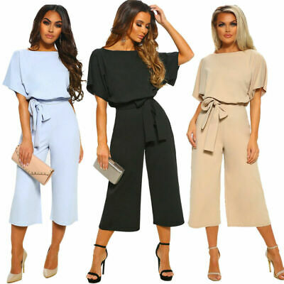 Women Size10-16 Ladies Office Wide Leg Party OL Playsuit Evening Casual Jumpsuit