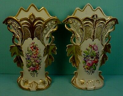 Pair Antique French'old Paris' Porcelain Hand Painted & Gilded Mantle Vases