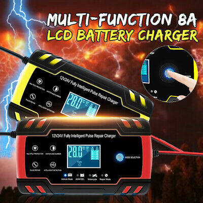 12/24V 8A Touch Screen Pulse Intelligent LCD Battery Charger Car Motorcycle