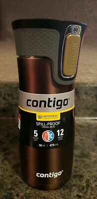 Contigo 16 oz. West Loop 2.0 Autoseal Stainless Steel Travel Mug brown latte NEW
