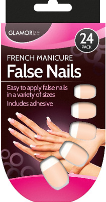 24 Pack French Manicure False Nails Glamorize Includes Adhesive